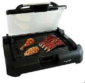 Smokeless Reversible Indoor Electric Grill Non Stick BBQ Removable w Glass Lid