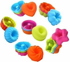 24 PCS Silicone Cake Muffin Tray Cupcake Liner Baking Cup Cookie Mold BPA Free