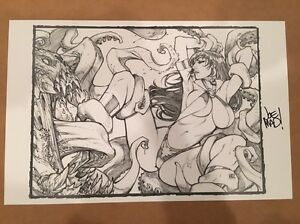 Vampirella Sketch Cover Print Lithograph Joe Madureira Mad Dynamite SDCC 2017