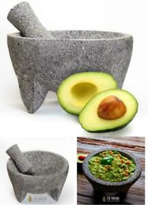 Authentic Mexican Hand Crafted Molcajete Volcanic Lava Stone Mortar Pestle