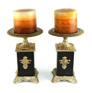 Pedestal Brass Metal Candle Holders and Set of Two India