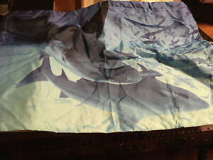 Twin Size Flat Blue With Sharks And One Pillow Case
