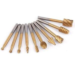 10x Set HSS Router Grinding Bit Burr Set For Engraving Wood Routing Rotary Tool