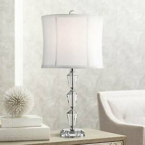 Modern Accent Table Lamp Faceted Crystal Column White for Living Room Bedroom