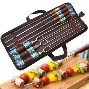 7pcs Barbecue Sticks Skewers U Forks Extendable BBQ Marshmallow Roasting Sticks