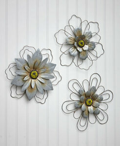 Wire Set of 3 Rustic Hanging Flowers Nature Metal Wall Art $29.99