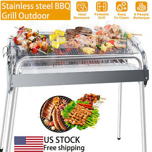 New Smokeless Fold Barbecue Charcoal Grill Stove Shish Kebab Stainless Steel BBQ