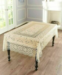Old Fashioned Vintage Pattern Crotchet Lace Vinyl Tablecloth $17.99