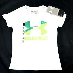 Under Armour Girls White Short Sleeve UA Big Logo Loose Fit T Shirt Top S $15.18