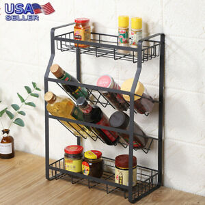 4Tier Sink Dish Drying Rack Stainless Steel Kitchen Shelf Drainer Spice Jar Rack
