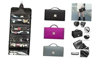 ROYALFAIR Hanging Toiletry Bag with Durable Hook Roll-Up Make Up Black