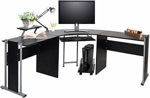 L-Shaped Office Desk Corner Computer Table Laptop Study Home Workstation W/ Tray