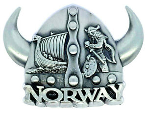 Norwegian Viking Ship Hats Helmet Norway Souvenir Fridge Magnet Scandinavia