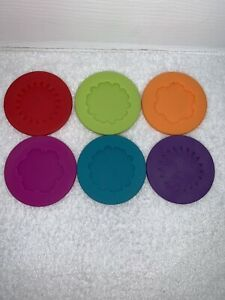 6 Pack MutliColor Flexible Slip on Silicone Coaster Charm Wrap Around Wine Glass