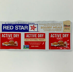 Red Star Active Dry Yeast 1 Strip (3-1/4 oz packets) For Baking Bread exp 3/22