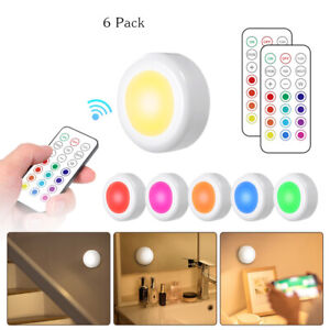 6Packs 13Colors RGB LED Cabinet Light Dimmable Kitchen Puck Lamp + Remote R0J0
