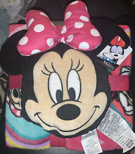 Disney Minnie Mouse Children's Character Pillow & Travel Blanket Set Super Soft
