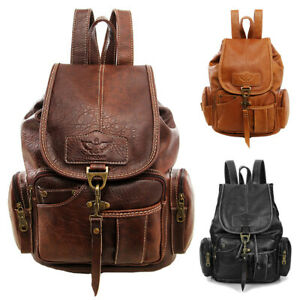 Vintage Women Backpack Leather Travel Hand Shoulder School Bag Satchel Rucksack $22.99