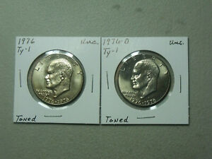 1976 P&D Type 1 Eisenhower Dollars 2 coins Choice Toned Uncirculated