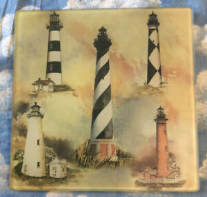 """LIGHTHOUSES SMALL SQUARE GLASS CUTTING BOARD 8"""" SQUARE"""