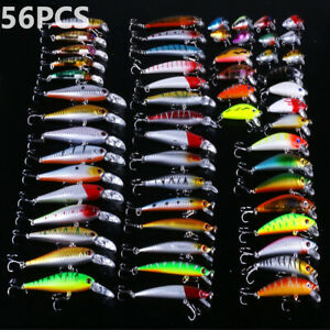 Lot of 56pcs Mixed Minnow Fishing Lures Bass Baits Crankbaits Fish Hooks Tackles