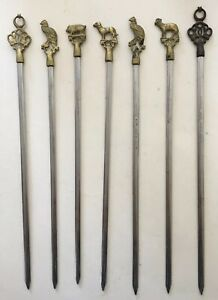"7 Vintage Steel & Brass Farm Animal Shish Kabob Skewers, 12""- 13"""
