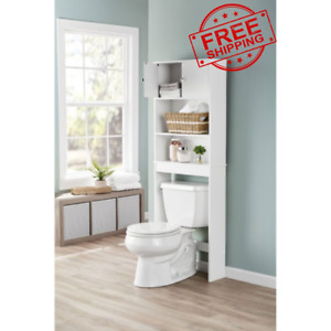 Bathroom Over The Toilet Space Saver Storage Cabinet Three Shelf Organizer White