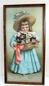 Antique Chromolithograph Print Girl With Kittens