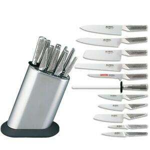 Global G-8311KB/PL Stainless Steel 11-Piece Knife Set with Knife Block