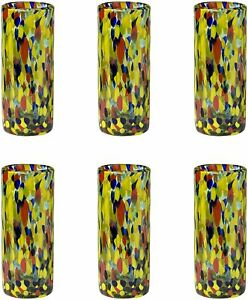 Set of 6 Amici Home Carnaval Tom Collins Hiball Drinking Glass Handblown 12 oz