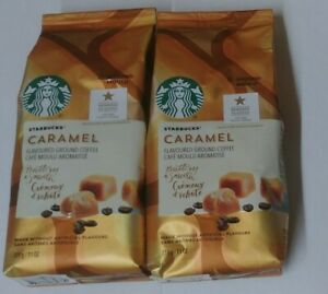 2 STARBUCKS COFFEE CARAMEL Light Roast Ground Flavored, 11 oz Bag, Fast Shipping