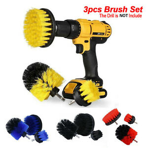 3Pcs Set Power Scrubber Cleaning Drill Brush Tile Grout Tools Tub Cleaner Combo