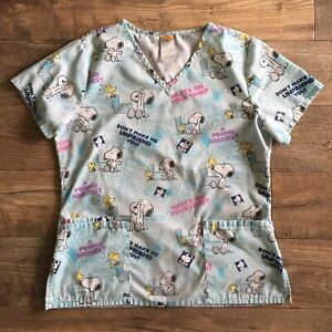 Peanuts SNOOPY Scrubs Small Top Blue Charlie Brown Facebook Computer Woodstock