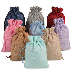 25 50 100 Burlap Bags Linen Jewelry Pouches Jute Hessian Gift Bag Wedding Favor