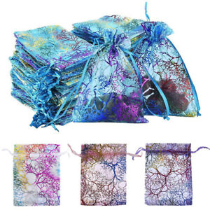50 100Pcs Sheer Coralline Organza Gift Bags Jewelry Pouches Party Wedding Favor