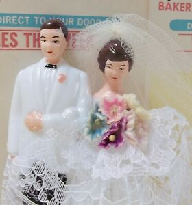 Vintage Wedding Cake Topper / Bride & Groom / White Tuxedo / Forget Me Nots