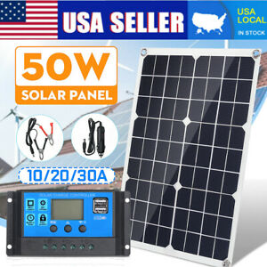 50W 18V Flexible Solar Panel +10-40A Controller Car Charger For RV Car Boat B2C9