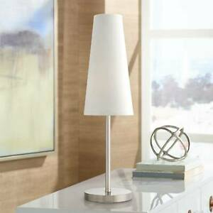 Modern Table Lamp Brushed Steel White Cone Shade for Living Room Bedroom Bedside