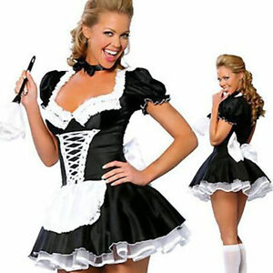 Hot Large Sexy Women Costume Cosplay French Maid Lingerie Outfit Dress Halloween $18.89