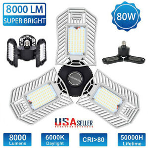 80W/60W/40W LED Garage Light E27 Deformable Ceiling Fixture Lights Workshop Lamp