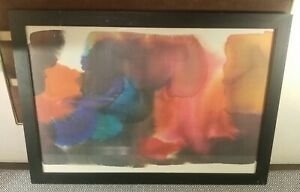 Vtg Mid Century Amanda Block Signed&Dated 1980 Expanding Red Abstract Lithograph
