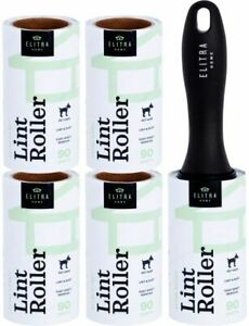 Elitra Extra Sticky Lint Roller Lightweight Handle 4 Refill Packs 450 Sheets