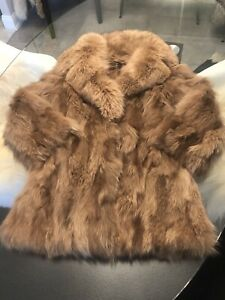 Large- Fox Fur Jacket Oversized Notched Collar.