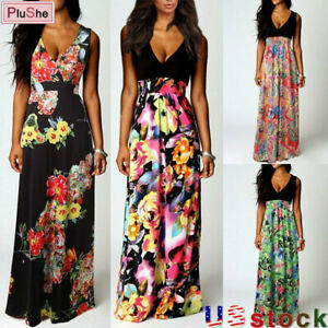 Women's Summer Boho Floral Long Dress Holiday Evening Party Beach Maxi Sundress
