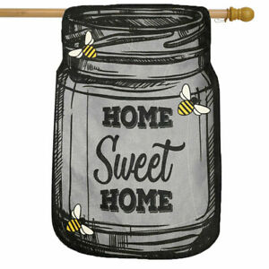 LARGE HOME SWEET HOME DOUBLE SIDED BURLAP SUMMER  BEES HOUSE FLAG 28X40 BANNER