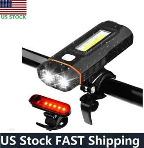 USB Rechargeable T6 COB LED MTB Bicycle Bike Front Headlight +Rear Tail Light