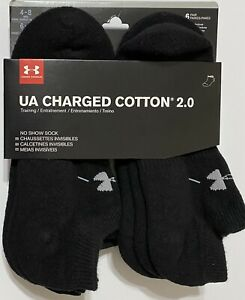 Under Armour Charged Cotton 2.0 6 Pair Men's No Show Socks Medium 4 8 Black $19.99
