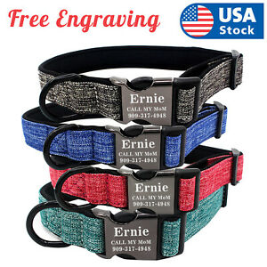 Personalized Dog Collar Canvas Buckle Engraved ID Name Custom S M L $9.98