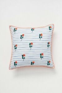 Anthropologie Embroidered Wildflower Pillow 18x18 – New in Original Package –$78 $49.99