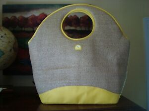 IGLOO Straw Insulated Beach Tote Bag Soft Cooler Sand Color & Yellow VGC
